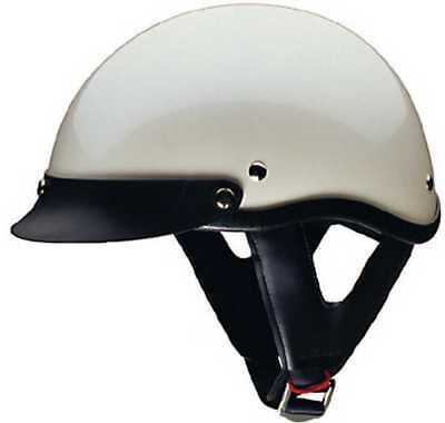 HCI Pearl White Motorcycle Half Helmet with Visor - ABS Shell 100-113