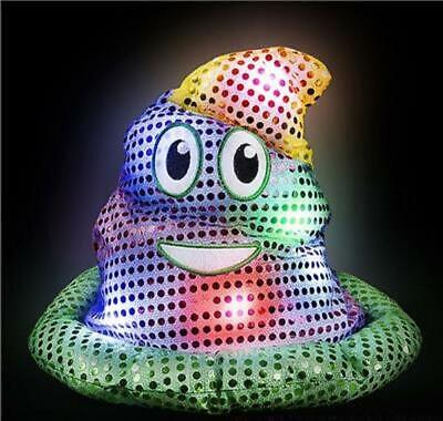 Light-Up SOFT Fabric Mardi Gras Emoji Poop Hat ( Emoticon Poo Party Headpiece ) - Light Up Fabric