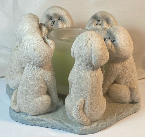 Bichon Frise Lap Dogs Circle of True Friends Candle Holder by CCI