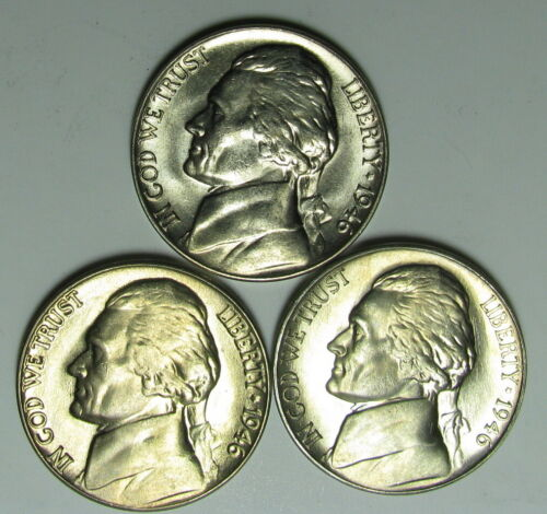 1946 P, D and S JEFFERSON NICKELS  CHOICE TO GEM BU GREAT MINT LUSTER