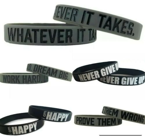 Motivational Silicone Wristbands unisex Rubber Sport Bracele