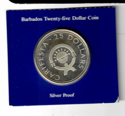Barbados 25 dollars 1981 Proof Mintage 1008 pcs Proof