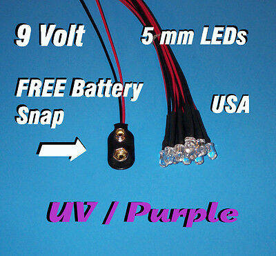 10 Pcs Led - 5mm Pre Wired Leds 9 Volt Uv Purple 9v Prewired