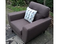 A New Designer Brown Fabric Material Arm Chair.