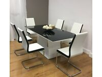 High Quality Dining Table And 6 faux Leather Chairs