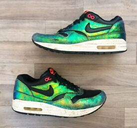 """RARE Nike Air Max 1 SUP QS """"Trophy"""" Ltd Edition green mid trainers UK 7 - 7.5"""