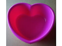 Heart Shaped Pink Plastic Bowl
