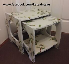 hand-decorated nest of 2 wooden tables, shabby chick, decoupage