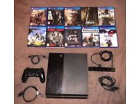 Sony PlayStation PS4 500Gb boxed with 9 games, controller, camera and unused headset.