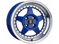 CADE BLAST 15X8 4X100 GOLF MK2/BMW E30 BLUEALLOY WHEELS