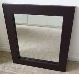 Mirror from BHS in Brown Faux Leather Frame. 66cm x 57cm