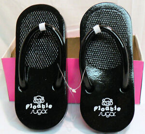 SUGAR FLOATIE FLOATIES FLIP FLOPS PINK BLACK OR BLACK & WHITE  SIZE 7, 8 ,9, 10