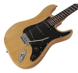 Stratocaster Electric Guitar New HasGuitar Strat Alder wood body Natural finish Pack