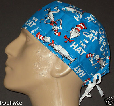 DR.SEUSS CAT IN THE HAT STORY BOOK COVER SURGICAL SCRUB HAT / FREE SIZING!