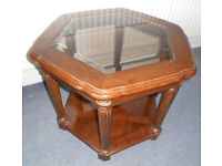 Hexagonal Coffee Table With Inset Glass Top