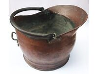 Box Full of Antiques: Copper Kettle, Copper Coal Scuttle, Carpet Beater, Ash Tray, Pewter Tankard