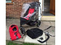 Phil&Teds Explorer all-terrain buggy with doubles seat, great condition