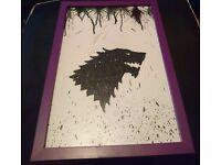 Direwolf Game of Thrones Crayon & Glitter Art Picture in Purple Frame