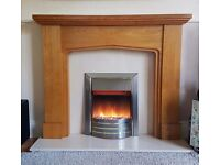 Modern electric fire, oak and micro marble surround
