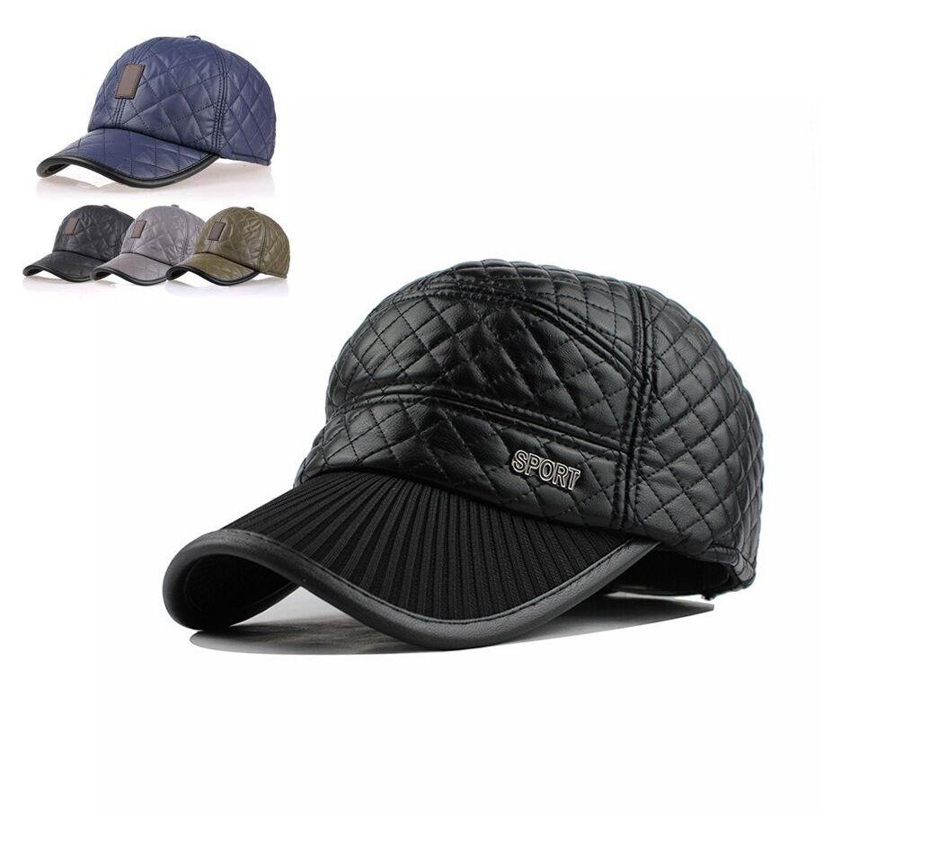 Winter Baseball Cap gesteppt basecap mütze kunstleder kappe ohrenklappen cappie