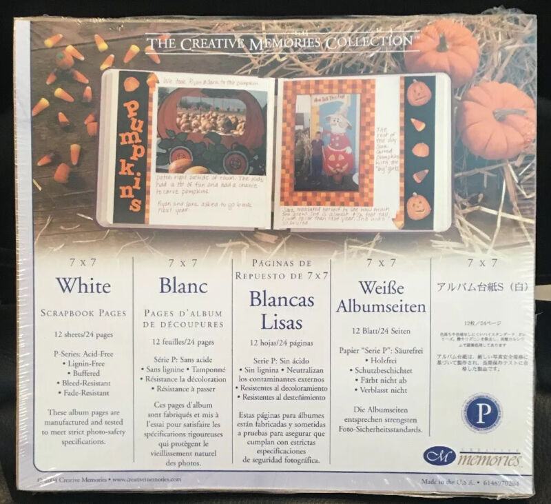 New Creative Memories 7 x 7 Sealed Retired ~ WHITE PAGES (Old Style) 12 Pages