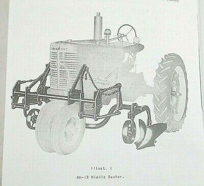 Mccormick Hm-19 M-19 2 Row 3 Row Middle Buster Farmall H M Owners Manual