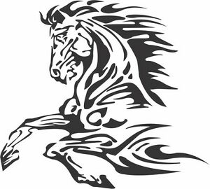 TRIBAL CHEST OF BUCKERING HORSE CAR DECAL STICKER