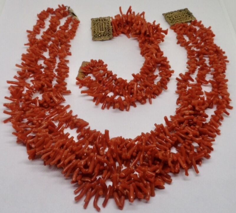 2 pc. Antique Victorian 4 Strand Branch Coral Necklace & 3 Strand Bracelet Set