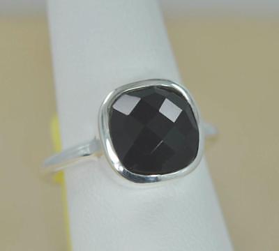 Sterling Silver Onyx Ladies Ring (NATURAL BLACK ONYX SIMPLE & ELEGANT 925 STERLING SILVER LADIES RING)
