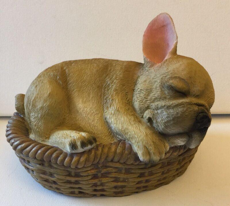 French Bulldog figurines Sleeping In Basket