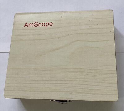 Amscope 25 Specimen Collection Prepared Biology Microscope Slides Wood Box