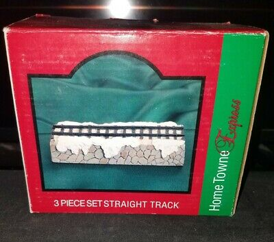 Home Towne Express 3 Piece Set Straight Track Christmas Train JC Penney Vtg 1999