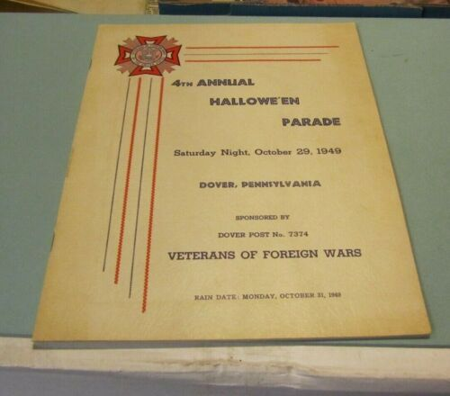 1949 Dover PA VFW Post 7374 Halloween Parade Program Veterans of Foreign Wars