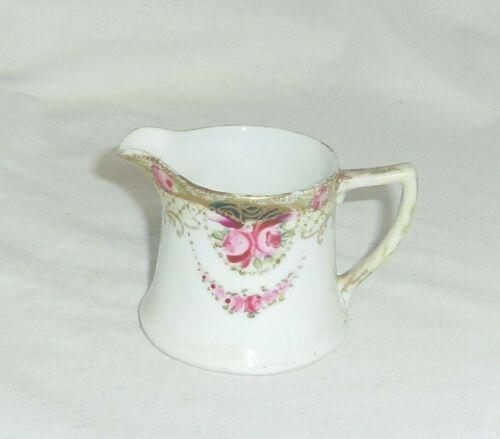 Antique Vintage Royal Art 2.25in hand painted flowers porcelain creamer pitcher