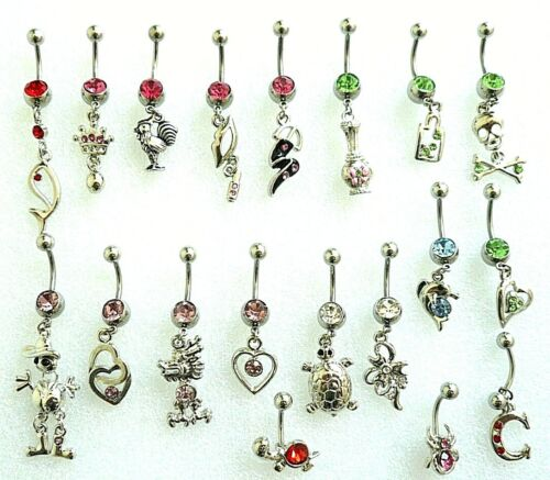 19+1+5 Artistic Curved Belly Button Dangle Rings - 14g & 316L Surgical Steel