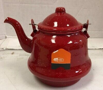 GSI Outdoors Enamelware Red Tea Kettle Traditional Graniteware. C01-313 - Gsi Red Kettle