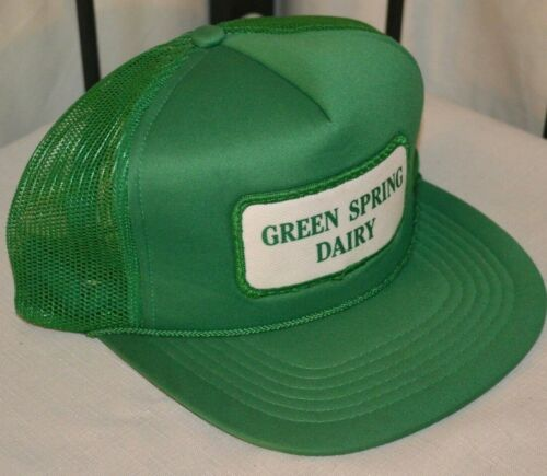 Vtg GREEN SPRING DAIRY HAT Cap RARE Employee TRUCKER Baltimore City Maryland