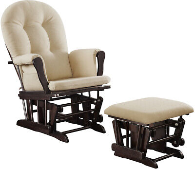 Glider Rocking Chair Ottoman Baby Nursery Furniture Nursing Rocker Seat Beige