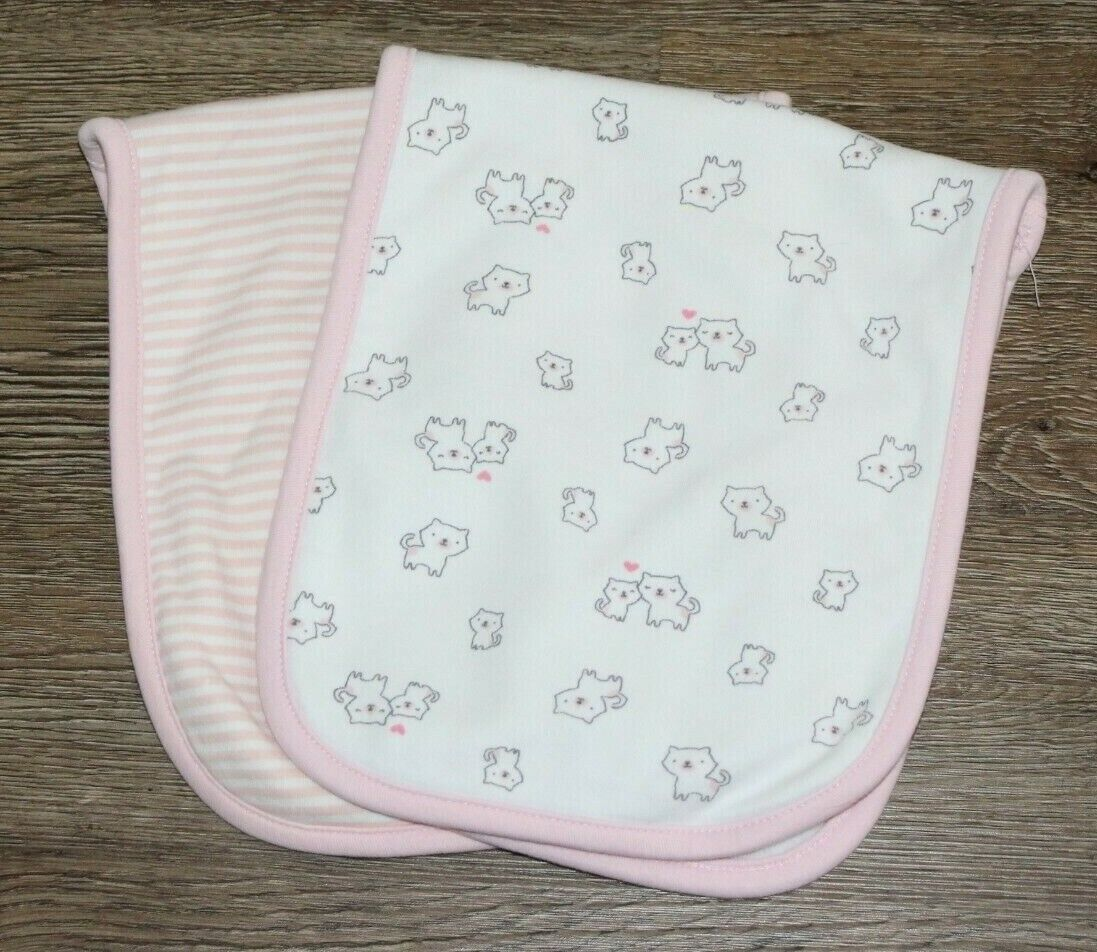 Just One You By Carter s Burp Cloth Set Of 2, Cat Stripe - $0.99