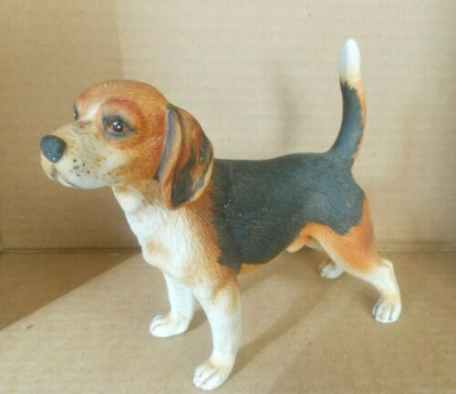 "VINTAGE PORCELAIN DOG FIGURINE  STANDING BEAGLE  5.5"" Long x 5"" High"