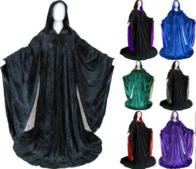 Velvet Robe Halloween Hooded Wizard Medieval Renaissance Cloak Line With Sleeves - Wizard Robe