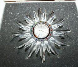 Swarovski Silver Crystal Solaris Table Clock  Made in Austria