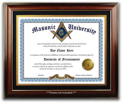 Masonic University Freemasonry Personalized Diploma Gold Seal Novelty Gift Color