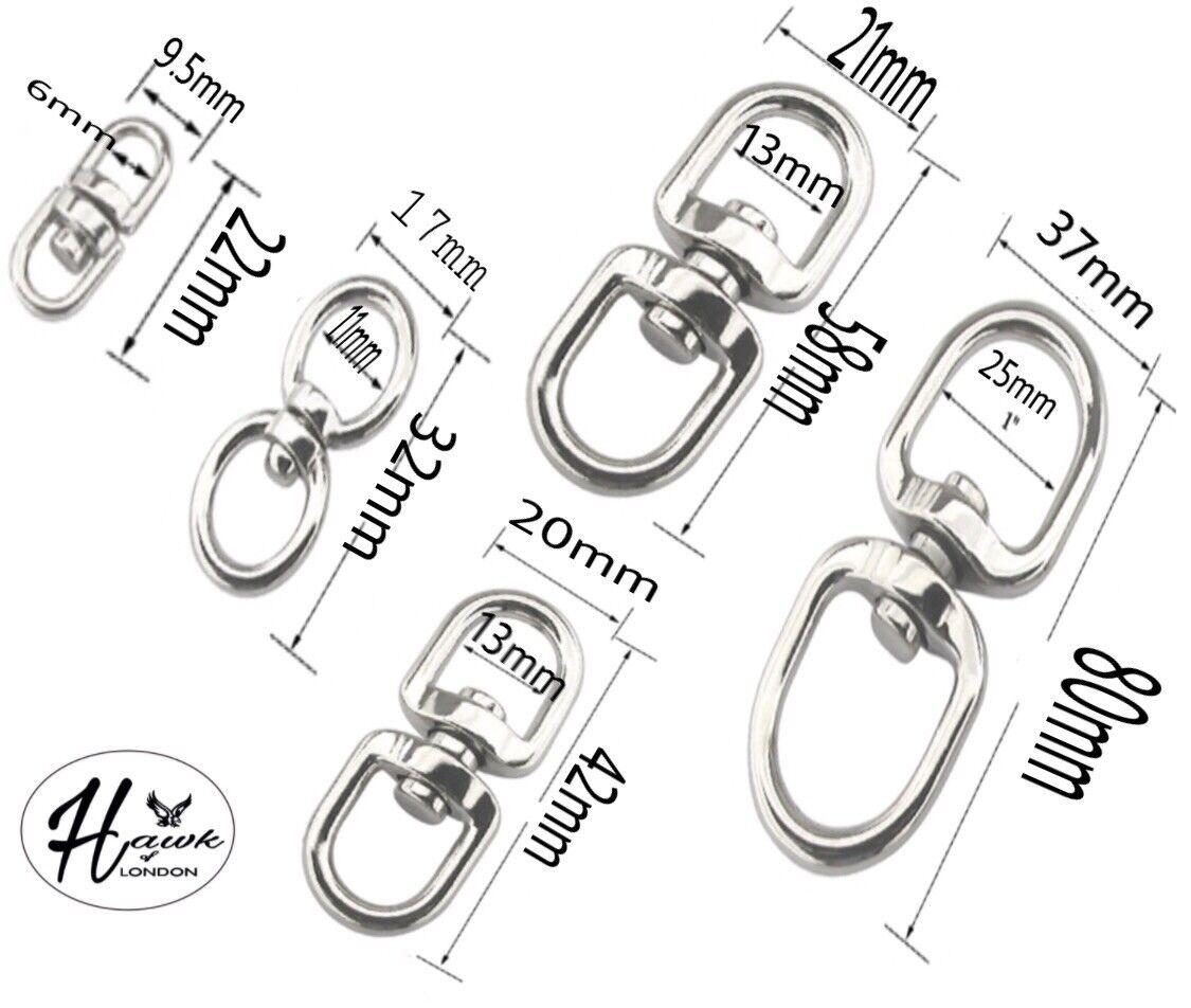 STEEL DOUBLE EYE SWIVEL RINGS DOG LEAD ANTI TANGLE HOOKS CLASPS BOAT CHAIN ROPE