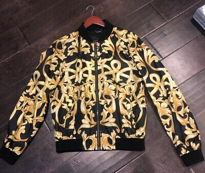 Versace Black Gold Baroque Barocco Bomber Jacket Size 52 IT fit like a US L