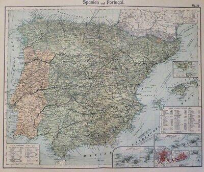 Landkarte von Spanien und Portugal, Gibraltar, Balearen, Otto Herkt um 1905