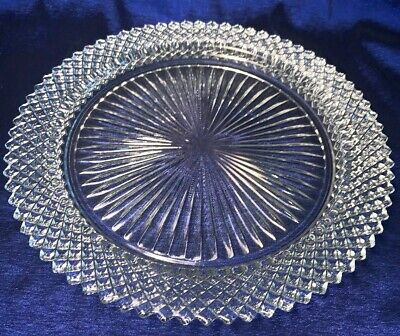 FOUR! Antique Pressed/cut Clear Heavy Glass Dinner/serving Plates Set/4 10 - Pressed Glass Serving Plates