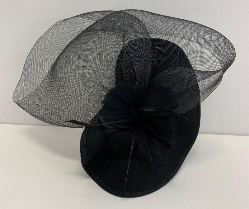 Vintage inspired Hat Fascinator Black Feather/ Flower Netting  Headband Wool NEW