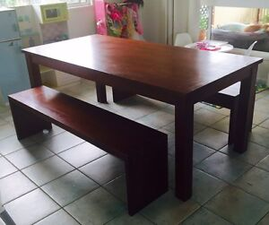 Wooden Dining Table with Bench Seats Currimundi Caloundra Area Preview