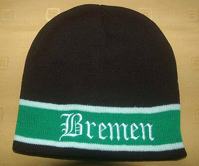 Bremen  schwarz weiß grün Mütze Wappen Strickmütze Fußball Fan Fanartikel